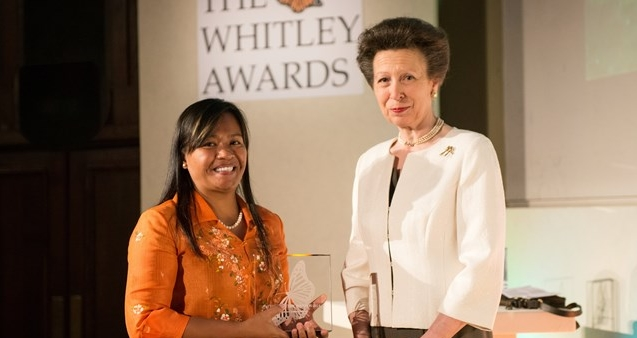 Tess receiving her Whitley Fund for Nature Award from HRH The Princess Royal (credit: Whitley Fund for Nature)