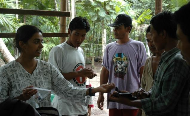 Training to monitor bats ©Bandana Aul